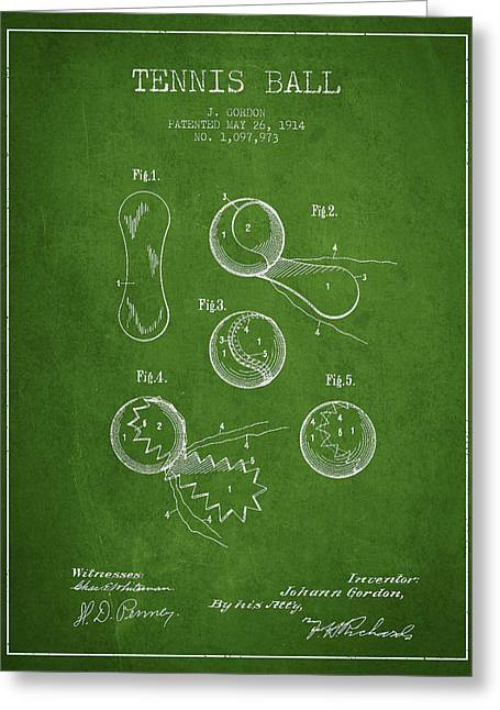 Tennis Racket Greeting Cards - Vintage Tennnis Ball Patent Drawing from 1914 Greeting Card by Aged Pixel