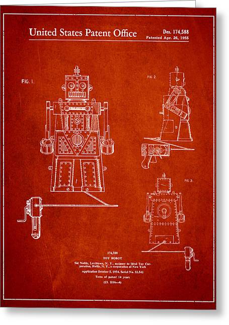 Toy Greeting Cards - Vintage Toy Robot Patent Drawing from 1955 Greeting Card by Aged Pixel