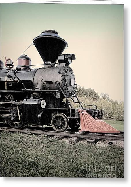 Express Greeting Cards - Vintage Train Engine Greeting Card by Jill Battaglia