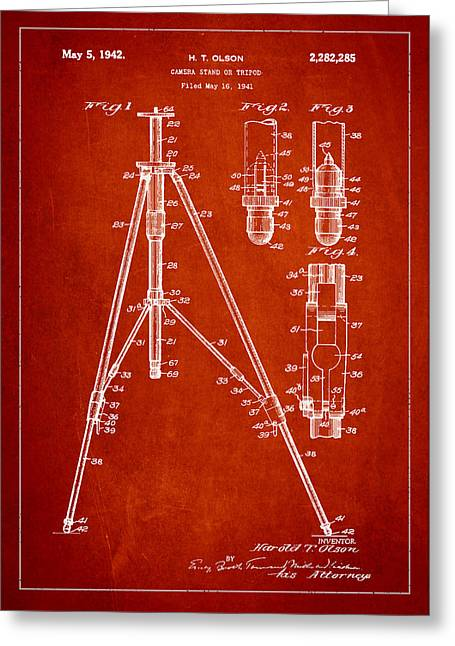 Stood Greeting Cards - Vintage Tripod Patent Drawing from 1941 Greeting Card by Aged Pixel