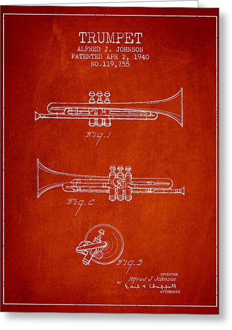 Trumpet Digital Greeting Cards - Vintage Trumpet Patent from 1940 - Red Greeting Card by Aged Pixel