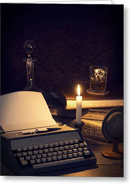 Vintage Typewriter Greeting Card by Amanda And Christopher Elwell