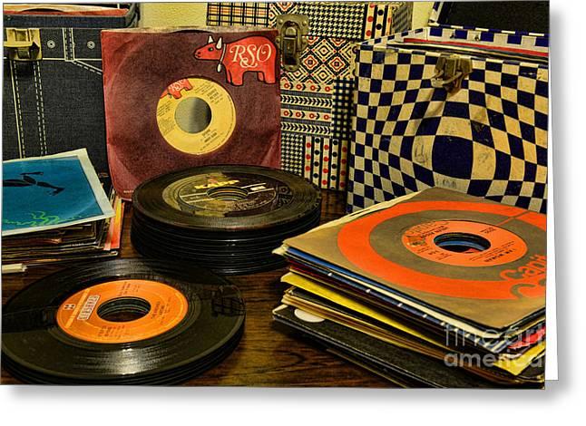 Disk Greeting Cards - Vintage Vinyl Greeting Card by Paul Ward