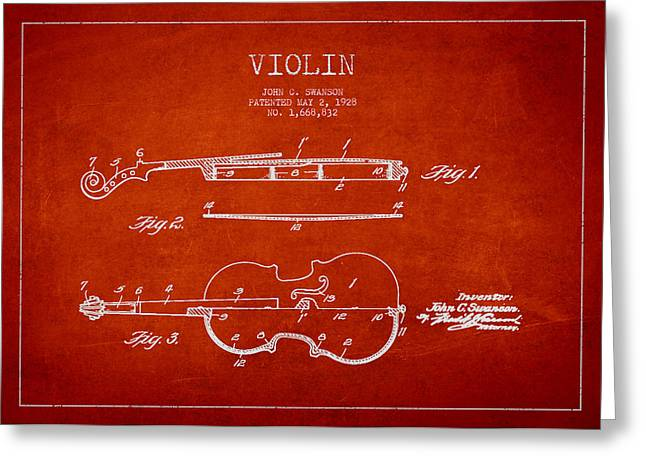 Violin Greeting Cards - Vintage Violin Patent Drawing From 1928 Greeting Card by Aged Pixel