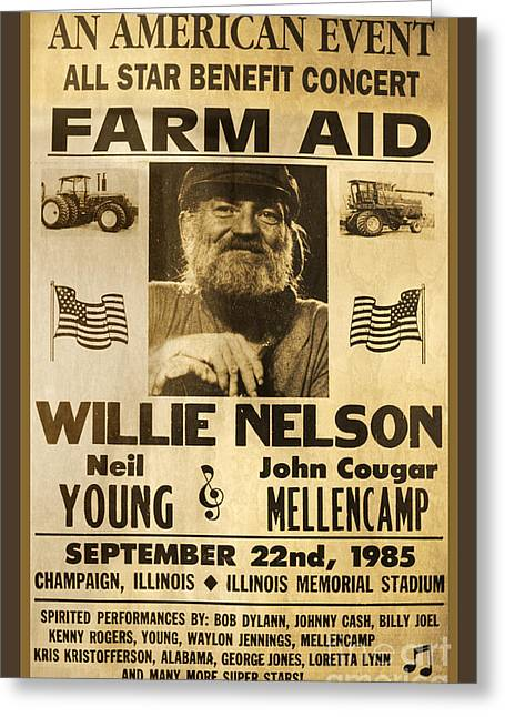 Neil Young Greeting Cards - Vintage Willie Nelson 1985 Farm Aid Poster Greeting Card by John Stephens