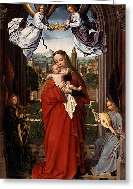 Jesus With A Child Greeting Cards - Virgin and Child with Four Angels Greeting Card by Gerard David