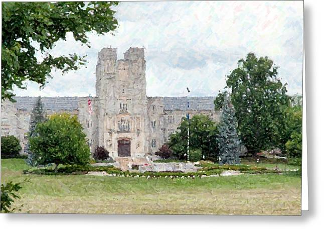 Duke Pastels Greeting Cards - Virginia Tech University Portrait Greeting Card by Olde Time  Mercantile