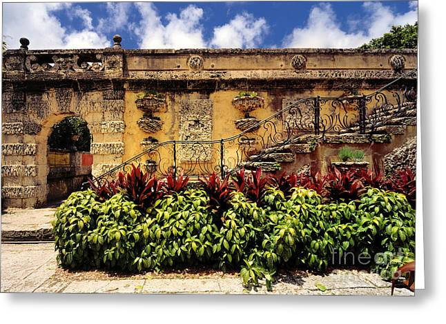 Tuscan Greeting Cards - Vizcaya Museum and Gardens Biscayne Bay Miami Florida Greeting Card by Amy Cicconi