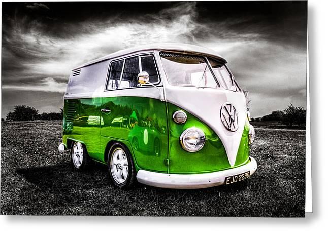 Campervan Greeting Cards - VW camper van Greeting Card by Ian Hufton