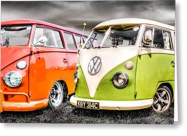 Campervan Greeting Cards - VW Campervans Greeting Card by Ian Hufton