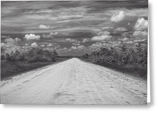 Ahead Greeting Cards - Wagon wheel road BW Greeting Card by Rudy Umans