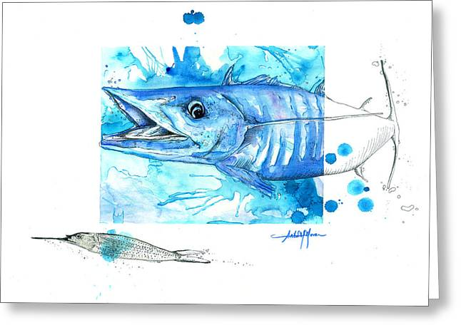 Scuba Diving Mixed Media Greeting Cards - Wahoo and Ballyhoo Greeting Card by Amber M  Moran