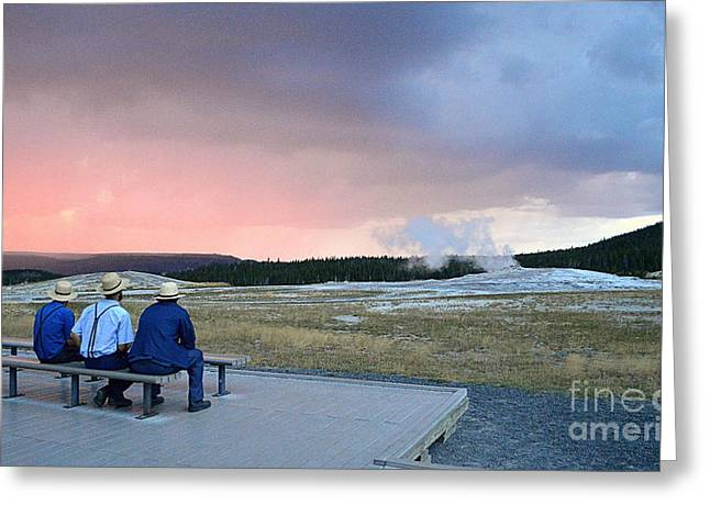 Suspenders Greeting Cards - Waiting for Old Faithful Geyser at Sunset Greeting Card by Catherine Sherman
