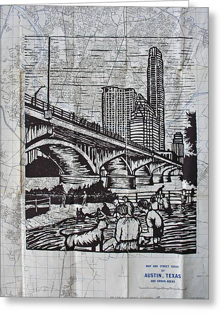 Linocut Greeting Cards - Waiting for the Bats Greeting Card by William Cauthern