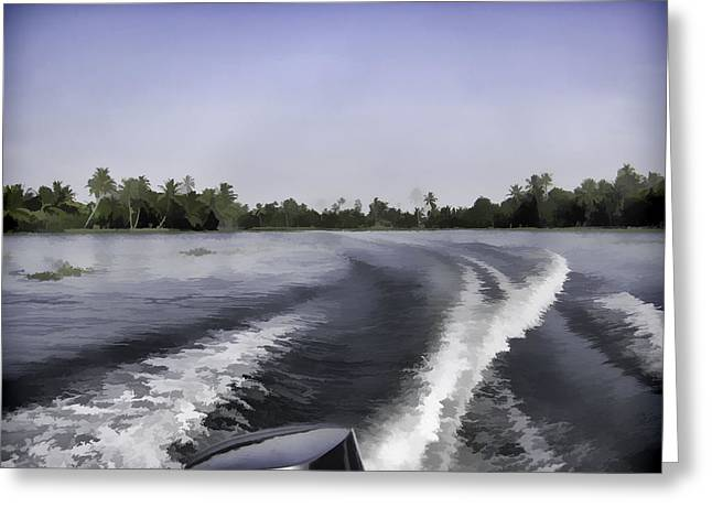Wake From The Wash Of An Outboard Motor Boat Greeting Card by Ashish Agarwal