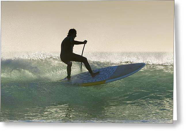 Surf Silhouette Greeting Cards - Wakeboarding Los Lances Beach Tarifa Greeting Card by Ben Welsh