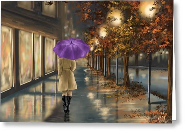 Raining Digital Greeting Cards - Walking Greeting Card by Veronica Minozzi