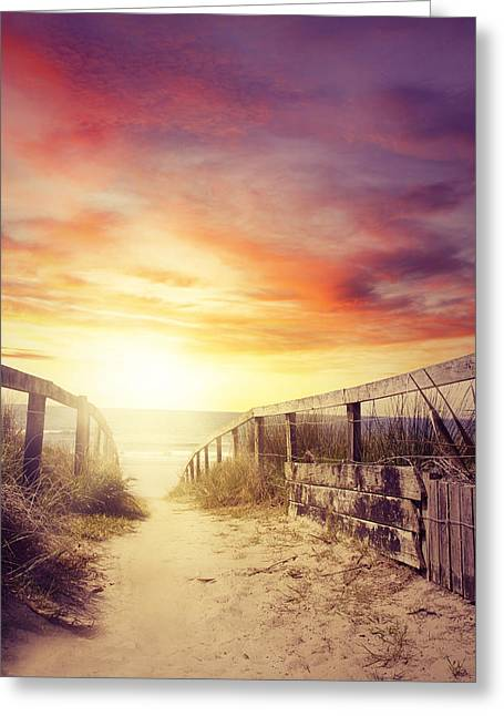Moody Beach Greeting Cards - Walkway Greeting Card by Les Cunliffe