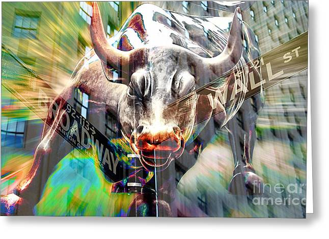 Wall Street Mixed Media Greeting Cards - Wall Street Bull Greeting Card by Marvin Blaine