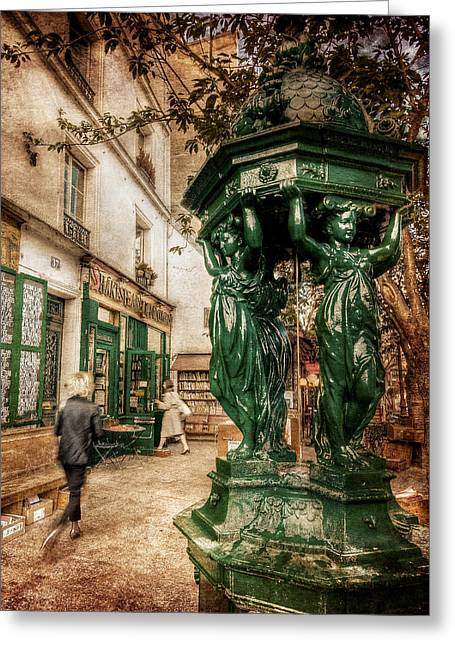 Montebello Greeting Cards - Wallace Fountain by Shakespeare and Co / Paris Greeting Card by Barry O Carroll