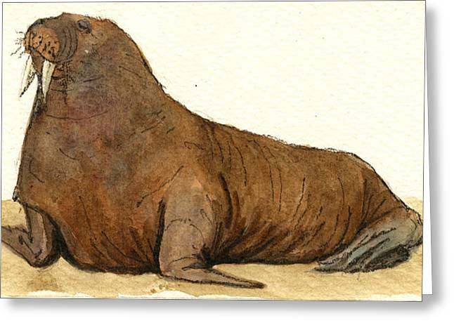 Elephant Seals Greeting Cards - Walrus Greeting Card by Juan  Bosco