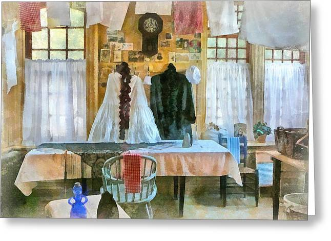 Washday Greeting Card by Susan Savad