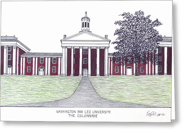 Historic Buildings Drawings Greeting Cards - Washington and Lee University Greeting Card by Frederic Kohli