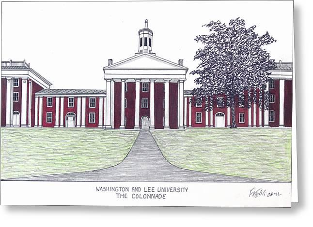 University Building Drawings Greeting Cards - Washington and Lee University Greeting Card by Frederic Kohli