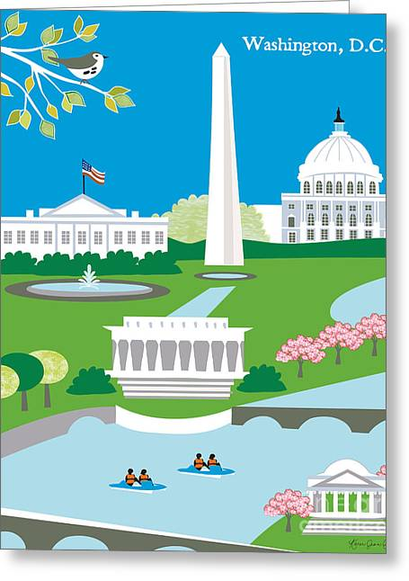 Washington D.c. Digital Art Greeting Cards - Washington D.C. Greeting Card by Karen Young
