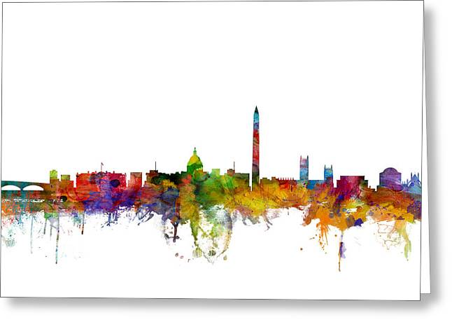 States Greeting Cards - Washington DC Skyline Greeting Card by Michael Tompsett