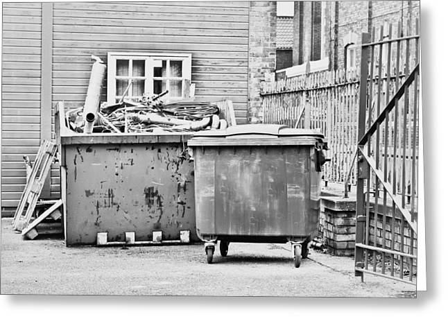 Dumped Greeting Cards - Waste skip Greeting Card by Tom Gowanlock