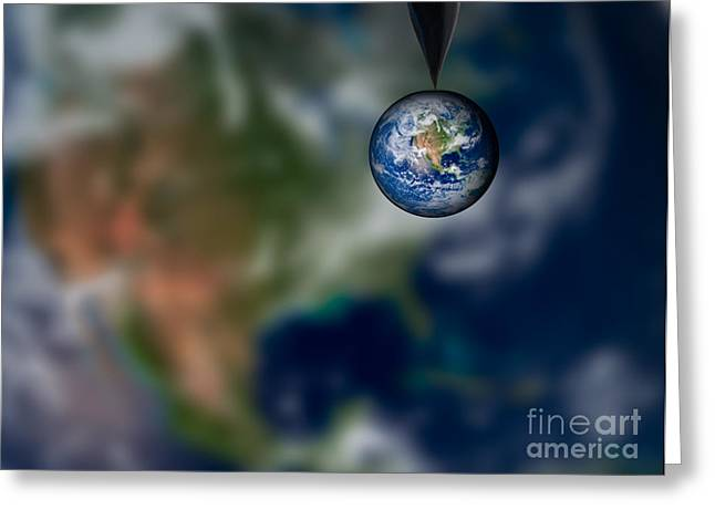 Planet Map Greeting Cards - Water and Earth Greeting Card by Susan Candelario