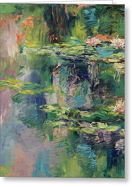 Lilly Pond Paintings Greeting Cards - Water Lilies Greeting Card by Michael Creese