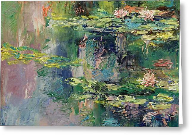 Water Lilies Greeting Card by Michael Creese