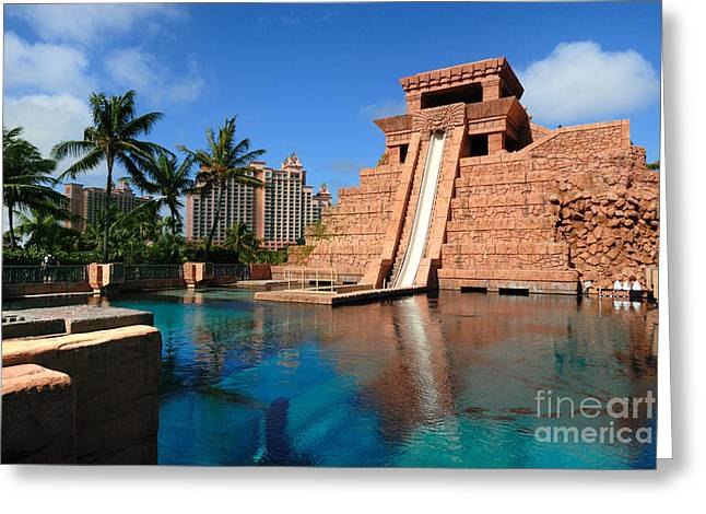 Travel Destination Greeting Cards - Water Slide at the Mayan Temple Atlantis Resort Greeting Card by Amy Cicconi