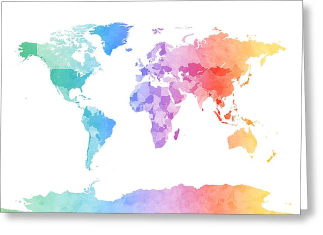 Cartography Digital Art Greeting Cards - Watercolor Map of the World Map Greeting Card by Michael Tompsett
