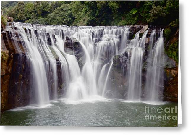 Beautiful Creek Greeting Cards - Waterfall Greeting Card by Fototrav Print