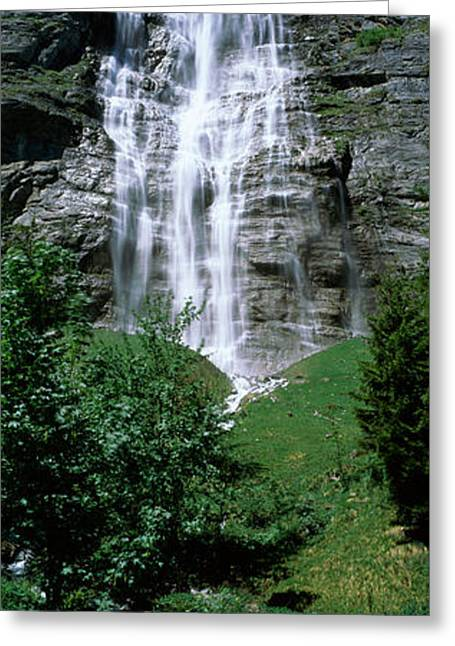Berne Canton Greeting Cards - Waterfall In A Forest, Murrenbach Greeting Card by Panoramic Images