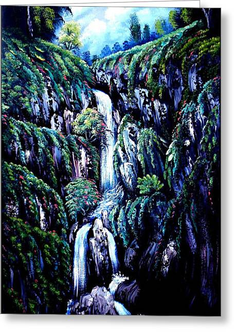 Bob Ross Paintings Greeting Cards - Waterfall  Greeting Card by Shirwan Ahmed
