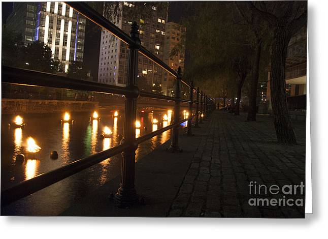 Installation Art Greeting Cards - WaterFire.  Providence Rhode Island Greeting Card by Juli Scalzi