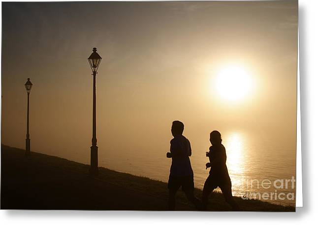 Jogging Greeting Cards - Waterfront Sidewalk in the Golden morning Dawn Greeting Card by ELITE IMAGE photography By Chad McDermott