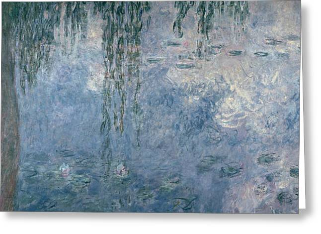 Weeping Greeting Cards - Waterlilies Morning with Weeping Willows Greeting Card by Claude Monet