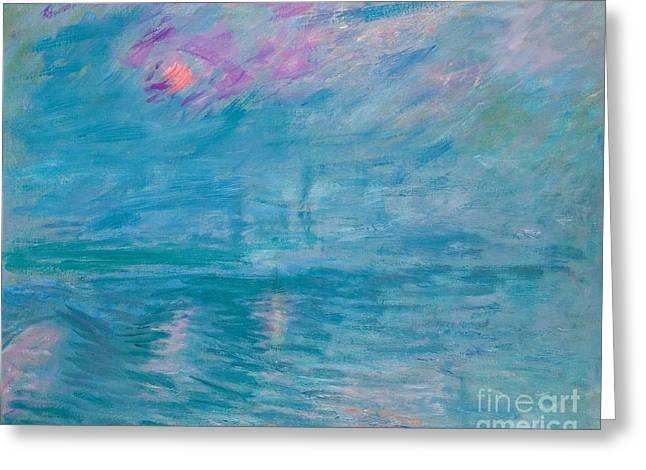Mist Paintings Greeting Cards - Waterloo Bridge Greeting Card by Claude Monet