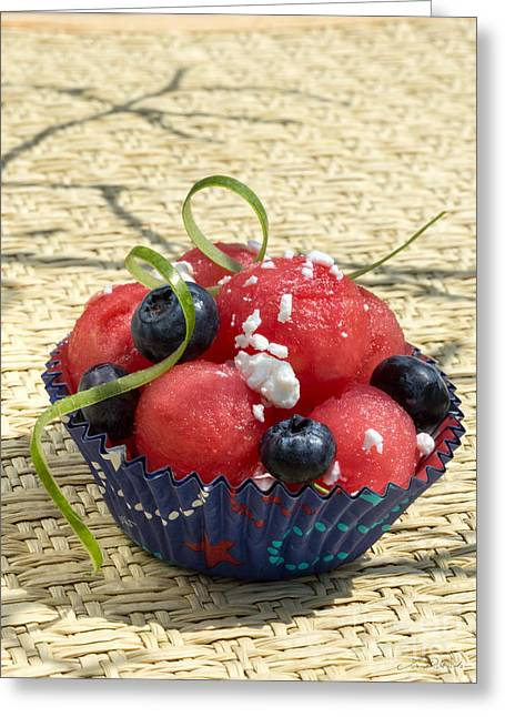 Watermelon Greeting Cards - Watermelon Blueberry and Goatcheese Greeting Card by Iris Richardson