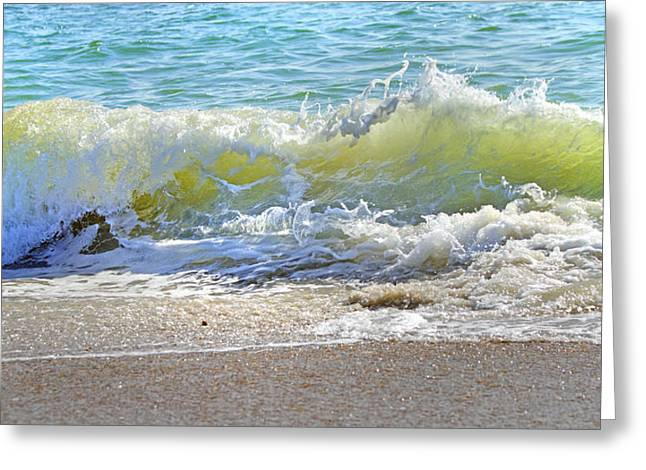 Blue Green Wave Greeting Cards - Green Wall Greeting Card by Betsy C  Knapp