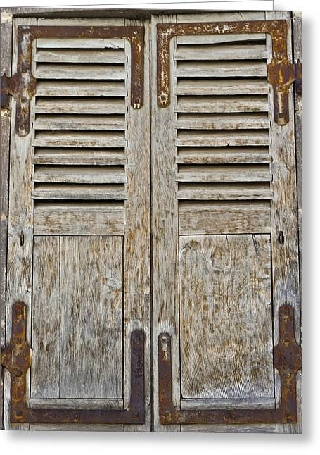 Weathered Shutters Greeting Cards - Weathered and Worn Greeting Card by Nomad Art And  Design