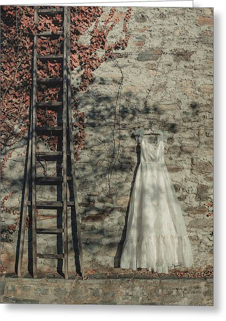 Coat Hanger Greeting Cards - Wedding Dress Greeting Card by Joana Kruse