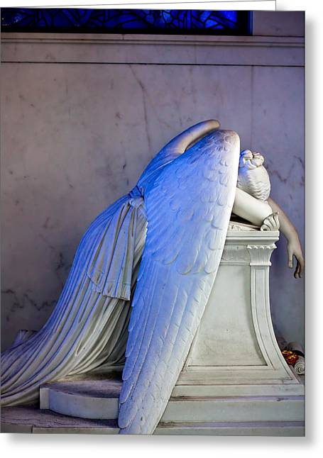 Angel Blues Greeting Cards - Weeping Angel I Greeting Card by Chris Moore