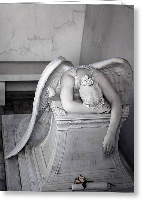 Metairie Cemetery Greeting Cards - Weeping Angel VI Greeting Card by Chris Moore