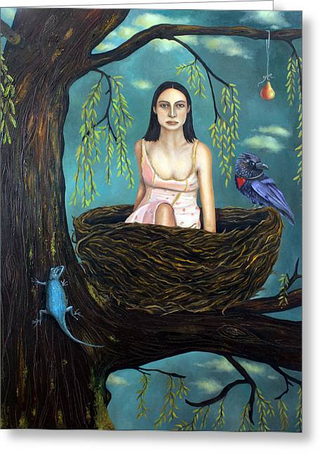 Weeping Greeting Cards - Weeping Willow Greeting Card by Leah Saulnier The Painting Maniac